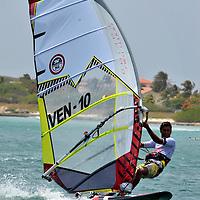 Gollito Estredo sailing in Aruba Hi Winds 2012. Aruba Island, July 3-July 9, 2012. International Competition windsurfing and kite surfingJimmy Villalta & Valentina Calatrava