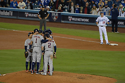 October 31, 2017 - Los Angeles, CA, United States - Astros Justin Verlander has a discussion with teammates as Dodgers get two men on in the 6th inning in Game 6 of the World Series at Dodger Stadium Tuesday, October 31, 2017. (Credit Image: © David Crane/Los Angeles Daily News via ZUMA Wire)