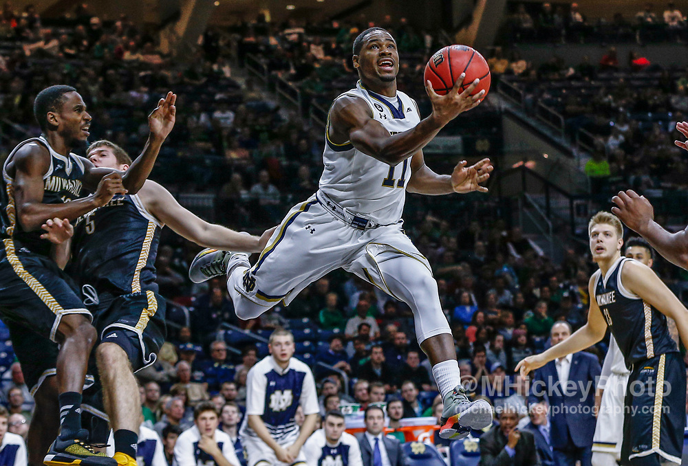 SOUTH BEND, IN - NOVEMBER 17: Demetrius Jackson #11 of the Notre Dame Fighting Irish shoots the ball under the basket against the Milwaukee Panthers at Purcell Pavilion on November 17, 2015 in South Bend, Indiana. (Photo by Michael Hickey/Getty Images) *** Local Caption *** Demetrius Jackson