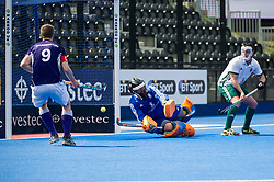 Canterbury's Diccon Stubbings is beaten by a Sevenoaks penalty corner. Canterbury v Sevenoaks - Men's Hockey League Finals, Lee Valley Hockey & Tennis Centre, London, UK on 23 April 2017. Photo: Simon Parker