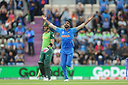 Jasprit Bumrah of India celebrates the wicket of Quinton de Kock during the ICC Cricket World Cup 2019 match between South Africa and India at the Hampshire Bowl, Southampton, United Kingdom on 5 June 2019.