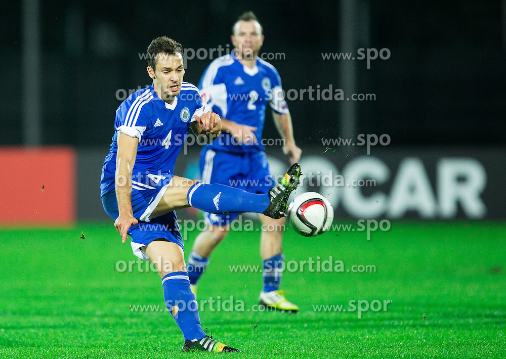 Cristian Brolli of San Marino during football match between National teams of San Marino and Slovenia in Group E of EURO 2016 Qualifications, on October 12, 2015 in Stadio Olimpico Serravalle, Republic of San Marino. Photo by Vid Ponikvar / Sportida