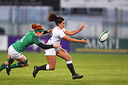 England player Tatyana Heard offloads the ball in the first half during the Women's 6 Nations match between Ireland Women and England Women at Energia Park, Dublin, Ireland on 1 February 2019.