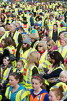 Entitled 'Hi- Five 4 Hi Vis'  A Guinness World Record for the greatest number of people wearing high visibility vests in any one place took  place in Oranmore town centre at the all weather pitch The event was supported by the Garda Siochana and the Road Safety Authority..At the event were hundreds of highly visible locals . Picture :Andrew Downes.