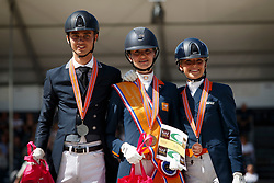 Podium Young Riders, Rockx Thalia, Bernoski Robin, Quint Laura, NED<br /> Nederlands Kampioenschap Dressuur <br /> Ermelo 2018<br /> © Hippo Foto - Dirk Caremans<br /> 29/07/2018
