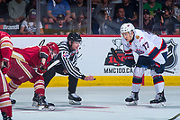 REGINA, SK - MAY 27: Linesman Harris drops the puck between Matt Bradley #77 of Regina Pats and Acadie-Bathurst Titan at the Brandt Centre on May 27, 2018 in Regina, Canada. (Photo by Marissa Baecker/CHL Images)