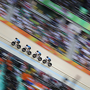 Track Cycling - Olympics: Day 8  The Canadian team of  Allison Beveridge, Jasmin Glaesser, Kirsti Lay and Georgia Simmering winning the bronze medal during the Women's Team Pursuit Final during the track cycling competition at the Rio Olympic Velodrome August 12, 2016 in Rio de Janeiro, Brazil. (Photo by Tim Clayton/Corbis via Getty Images)