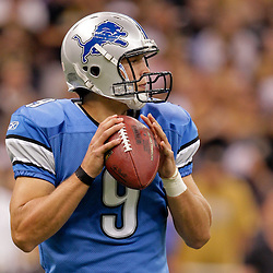 2009 September 13: Detroit Lions quarterback Matthew Stafford (9) looks to throw during a week one regular season game between the New Orleans Saints and the Detroit Lions at the Louisiana Superdome in New Orleans, Louisiana.