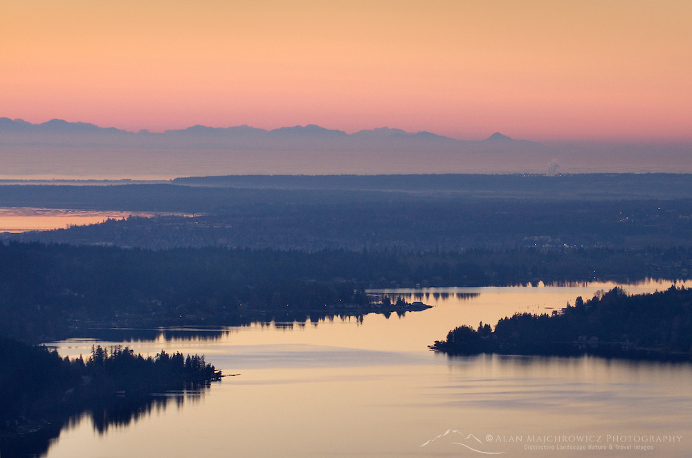 Lake Whatcom seen from Stewart Mountain near Bellingham Washington
