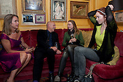 Sabrina Guinness; Brian Eno; katherine Poulton; Lily Cole, BRIONI FRAGRANCE LAUNCH. Annabels. Berkeley Sq. London. 14 October 2009. *** Local Caption *** -DO NOT ARCHIVE-© Copyright Photograph by Dafydd Jones. 248 Clapham Rd. London SW9 0PZ. Tel 0207 820 0771. www.dafjones.com.<br /> Sabrina Guinness; Brian Eno; katherine Poulton; Lily Cole, BRIONI FRAGRANCE LAUNCH. Annabels. Berkeley Sq. London. 14 October 2009.