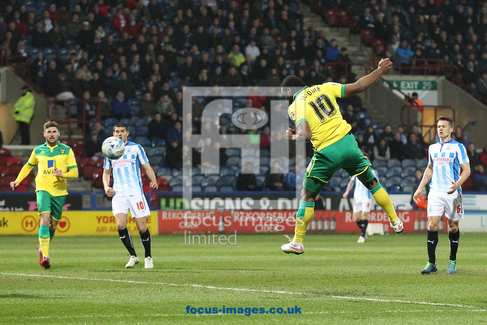 Cameron Jerome of Norwich heads for goal but Bradley Johnson of Norwich turns the ball into the net but the goal is disallowed for handball during the Sky Bet Championship match at the John Smiths Stadium, Huddersfield<br /> Picture by Paul Chesterton/Focus Images Ltd +44 7904 640267<br /> 17/03/2015