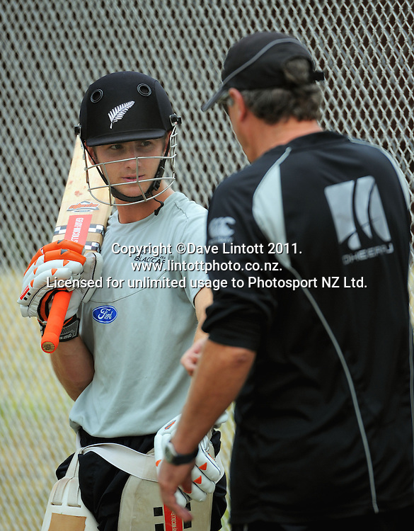 Coach John Wright (right) talks to Kane Williamson. Black Caps cricket training at Allied Prime Basin Reserve, Wellington, New Zealand on Thursday, 13 January 2011. Photo: Dave Lintott / photosport.co.nz