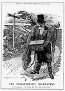 David Lloyd George (1863-1945) Welsh-born British Liberal statesman. In 1908 as Chancellor of the Exchequer Lloyd George introduced the Old Age Pensions Act. Cartoon by Edward Linley Sambourne from 'Punch', London,  August 1908.