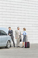 Businesspeople with luggage communicating outside car on street