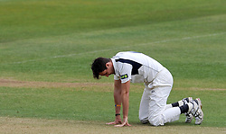 Dejection for Middlesex's Steven Finn. - Photo mandatory by-line: Harry Trump/JMP - Mobile: 07966 386802 - 28/04/15 - SPORT - CRICKET - LVCC Division One - County Championship - Somerset v Middlesex - Day 3 - The County Ground, Taunton, England.