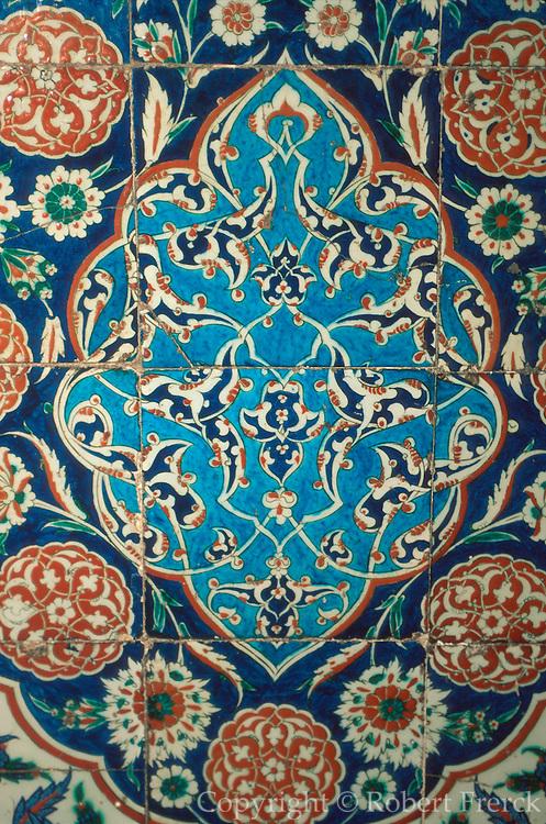 TURKEY, ISTANBUL, OTTOMAN Blue Mosque; famous Iznik tiles
