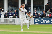 Ben Coad of Yorkshire celebrates a wicket which was given not out during the third day of the Specsavers County Champ Div 1 match between Somerset County Cricket Club and Yorkshire County Cricket Club at the Cooper Associates County Ground, Taunton, United Kingdom on 29 April 2018. Picture by Graham Hunt.