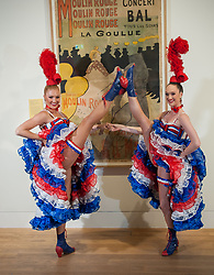 Pictured: Dancers Mathilde Tutiaux (left) and Lucy Monaghan from the Moulin Rouge in Paris, helped launch the National Galleries of Scotland major exhibition 'Pin-ups: Toulouse-Lautrec and the art of celebrity'<br /> <br /> Henri de Toulouse-Lautrec (1864-1901), one of the most innovative and popular French artists of the era known as the 'Belle Époque'.<br /> <br /> © Dave Johnston / EEm