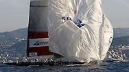 FRANCE, Nice, 21st November 2009, Louis Vuitton Trophy, Day 14, Semi Final Day 3, TEAMORIGIN vs Azzurra, Race 3, Azzurra reaches the leeward gate on leg 2.