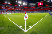 General stadium view showing the corner flag inside the Allianz Arena before the Champions League match between Bayern Munich and Liverpool at the Allianz Arena, Munich, Germany, on 13 March 2019.