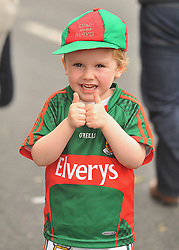 $ Year Old Oisin O'Reilly from Mayo on his way to the All Ireland Semi-final between Mayo and Dublin on sunday last.<br /> Pic Conor McKeown