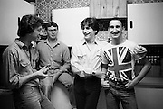 Brian, Tony, Mark and Gavin in Union Jack T Shirt, High Wycombe, UK, 1980s.