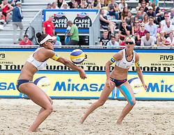 30.07.2014, Strandbad, Klagenfurt, AUT, FIVT, A1 Beachvolleyball Grand Slam 2014, Hauptrunde, im Bild v.l. Lisa Chukwuma (AUT) und Stefanie Schwaiger (AUT) // during Main Draw Match of the A1 Beachvolleyball Grand Slam at the Strandbad Klagenfurt, Austria on 2014/07/30. EXPA Pictures © 2014, EXPA Pictures © 2014, PhotoCredit: EXPA/ Johann Groder