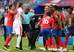 SAMARA, June 17, 2018  Nemanja Matic (2nd L, front) of Serbia clashes with team members of Costa Rica during a group E match between Costa Rica and Serbia at the 2018 FIFA World Cup in Samara, Russia, June 17, 2018. (Credit Image: © Ye Pingfan/Xinhua via ZUMA Wire)
