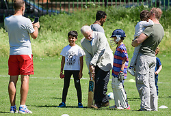 **permission given by parents for children to be photographed** <br /> &copy; Licensed to London News Pictures. 10/06/2017. London, UK. Leader of the Labour Party JEREMY CORBYN holds a cricket bat while visiting a council park in his constituency. The Labour party made significant gains earlier this week in a general election The Conservative Party were expected to win comfortably. Photo credit: Ben Cawthra/LNP