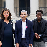 London,England,UK, 22th July 2016 : Jessie Ware, Tinchy Stryder join the Mayor of London Sadiq Khan Launch of International Busking Day '#LondonIsOpen' in Trafalgar Square, London, UK. Photo by See Li