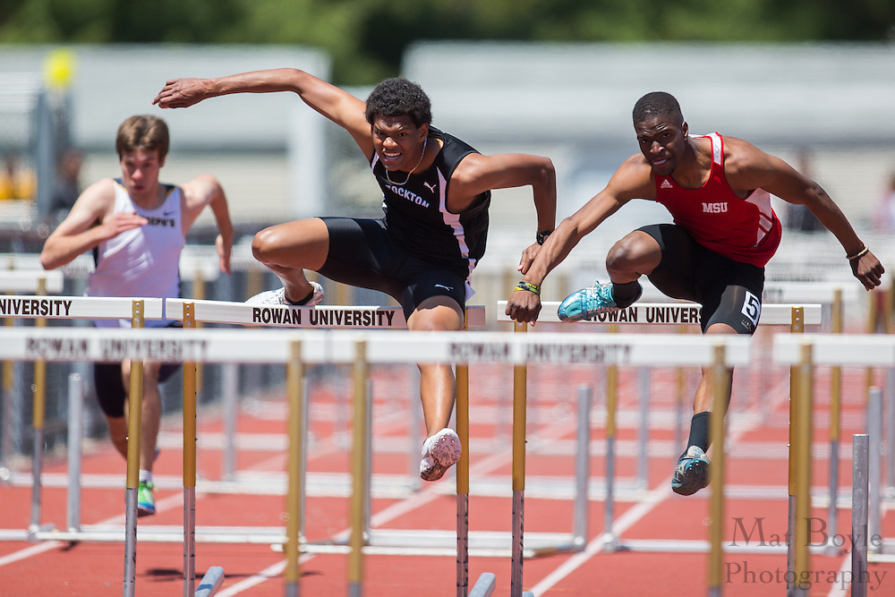 Men's 110 meter hurdles final at the NJAC Track and Field Championships at Richard Wacker Stadium on the campus of  Rowan University  in Glassboro, NJ on Sunday May 5, 2013. (photo / Mat Boyle)