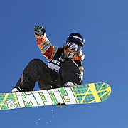James Hamilton, New Zealand, in action during the Men's Half Pipe Finals in the LG Snowboard FIS World Cup, during the Winter Games at Cardrona, Wanaka, New Zealand, 28th August 2011. Photo Tim Clayton....