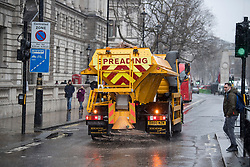 © Licensed to London News Pictures. 17/03/2018. London, UK. A glitter on Whitehall in Westminster in central London as a 'Mini Beast' forecast to bring snow and ice the parts of the UK. The drop in temperatures is expected to bring disruption, with flights cancelled at Heathrow airport. . Photo credit: Ben Cawthra/LNP