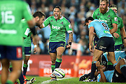 Aaron Smith celebrates, NSW Waratahs v Otago Highlanders Semi Final. Sport Rugby Union Super Rugby Domestic Provincial. Allianz Stadium SFS. 27 June 2015. Photo by Paul Seiser/SPA Images