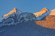 Peaks of the Canadian Rocky Mountains at sunrise at Lake Louise, Banff National Park, Alberta, Canada