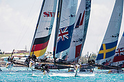 The Great Sound, Bermuda, 21st June 2017, Red Bull Youth America's Cup Finals. Start of race five. NZL Sailing Team leads from the begining.