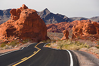 Fiery red rock formations of Valley of Fire State Park in Nevada.