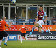 Picture by David Horn/Focus Images Ltd +44 7545 970036<br /> 23/07/2013<br /> Callum Robinson of Aston Villa goes close with a header during the Pre Season Friendly match at Kenilworth Road, Luton.