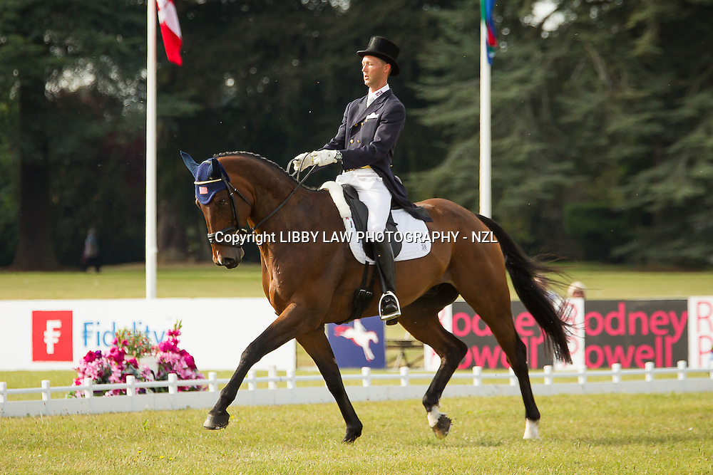 CCI3* LEADER AFTER THE FIRST DAY OF DRESSAGE: USA-Clarke Montgomery (LOUGHAN GLEN) CCI3* DRESSAGE: Interim-1ST: 2013 GBR-Fidelity Blenheim Palace International Horse Trial (Thursday 12 September) CREDIT: Libby Law COPYRIGHT: LIBBY LAW PHOTOGRAPHY - NZL