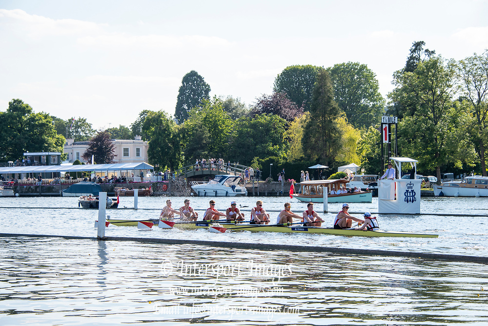 Henley on Thames, England, United Kingdom, 3rd July 2019, Henley Royal Regatta, Temple Challenge Trophy, Boston University, passing the 1 and 1/8th Barrier,  Henley Reach, [© Peter SPURRIER/Intersport Image]<br /> <br /> 18:40:46 1919 - 2019, Royal Henley Peace Regatta Centenary,