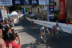 Wesley Sulzberge (AUS) of Orica-Green Edge and Fabio Felline (ITA) of Androni-Ciocattoli at finish line during Stage 2 from Kocevje to Visnja Gora (168,5 km) of cycling race 20th Tour de Slovenie 2013,  on June 14, 2013 in Slovenia. (Photo By Vid Ponikvar / Sportida)