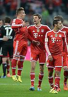 Fussball  1. Bundesliga  Saison 2013/2014  25. Spieltag FC Bayern Muenchen - Bayer Leverkusen       15.03.2014 Xherdan Shaqiri, Thomas Mueller und Thiago Alcantara (v.li., alle FC Bayern Muenchen)