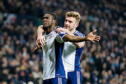 Brown Ideye of West Brom celebrates with James Morrison after scoring a goal to make it 1-0 - Photo mandatory by-line: Rogan Thomson/JMP - 07966 386802 - 11/02/2015 - SPORT - FOOTBALL - West Bromwich, England - The Hawthorns - West Bromwich Albion v Swansea City - Barclays Premier League.