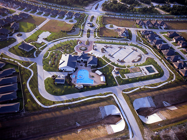 Stock photo of the aerial view of the Cinco Ranch neighborhood clubhouse in Houston Texas