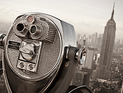 Detail of pay binoculars on Top of the Rock on Rockefeller Center in New York City