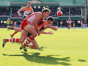 Callan Ward of the Giants and Mike Pyke of the Swans during the 2013 AFL Round 16 match between the Sydney Swans and the GWS Giants at the SCG, Sydney on July 14, 2013. (Photo: Craig Golding/AFL Media)