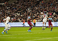 Football - 2019 / 2020 Premier League - West Ham United vs. Crystal Palace <br /> <br /> Martin Kelly (Crystal Palace) heads down to Jordan Ayew (Crystal Palace) to score the winning goal at the London Stadium<br /> <br /> COLORSPORT/DANIEL BEARHAM