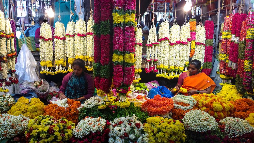 Flower market at Malleshwaram,Bangalore