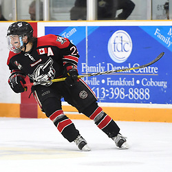 """TRENTON, ON  - MAY 5,  2017: Canadian Junior Hockey League, Central Canadian Jr. """"A"""" Championship. The Dudley Hewitt Cup. Game 7 between Georgetown Raiders and the Powassan Voodoos. Jack Jacome #23 of the Georgetown Raiders pursues the play during the third period.<br /> (Photo by Andy Corneau / OJHL Images)"""
