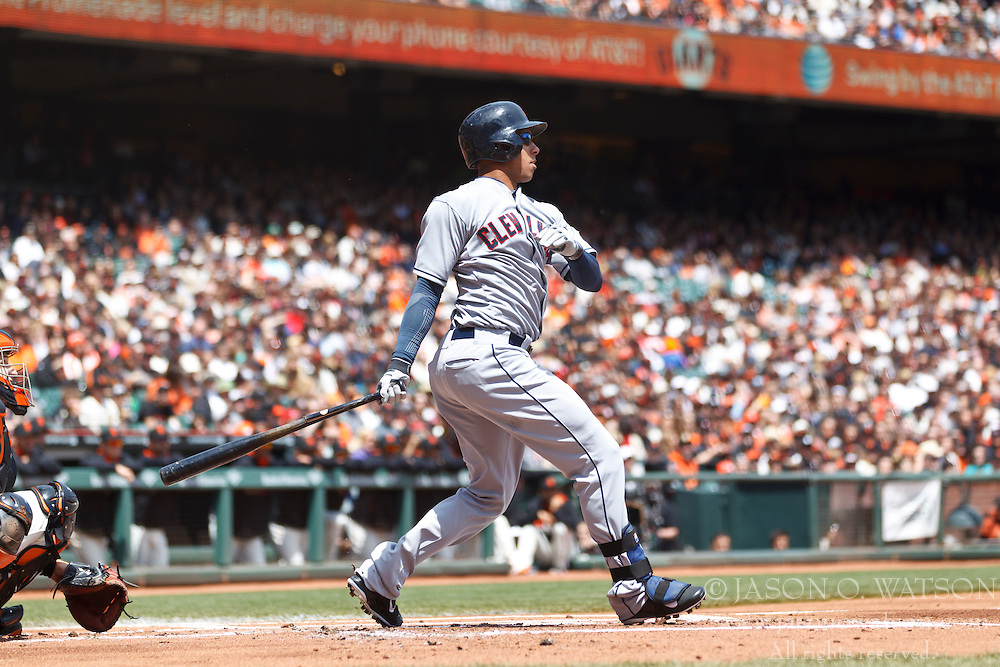 SAN FRANCISCO, CA - APRIL 26:  Michael Brantley #23 of the Cleveland Indians at bat against the San Francisco Giants during the first inning at AT&T Park on April 26, 2014 in San Francisco, California. The San Francisco Giants defeated the Cleveland Indians 5-3.  (Photo by Jason O. Watson/Getty Images) *** Local Caption *** Michael Brantley